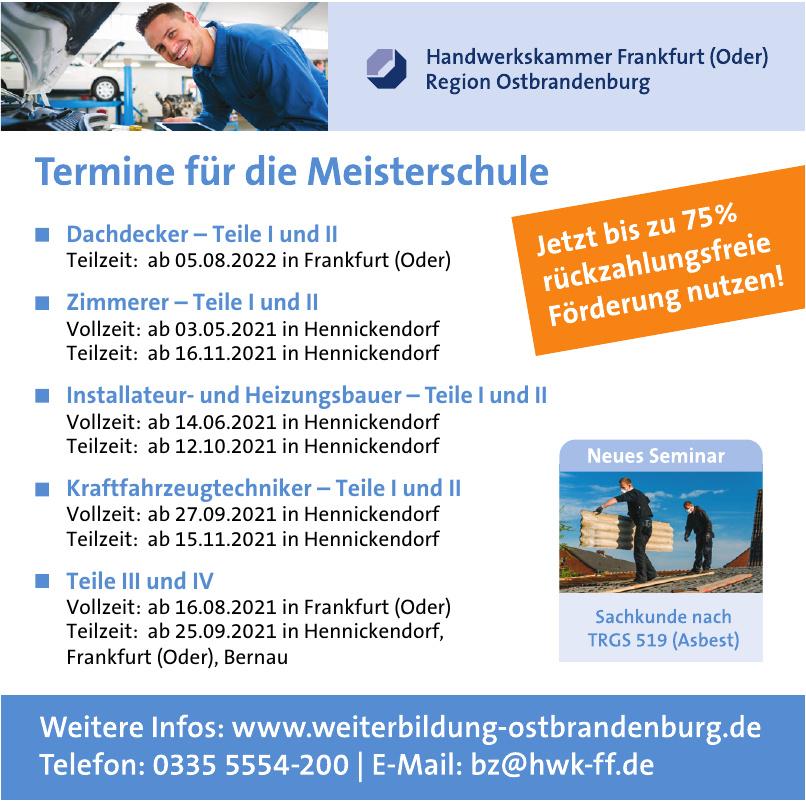 Handwerkskammer Frankfurt (Oder) Region Ostbrandenburg