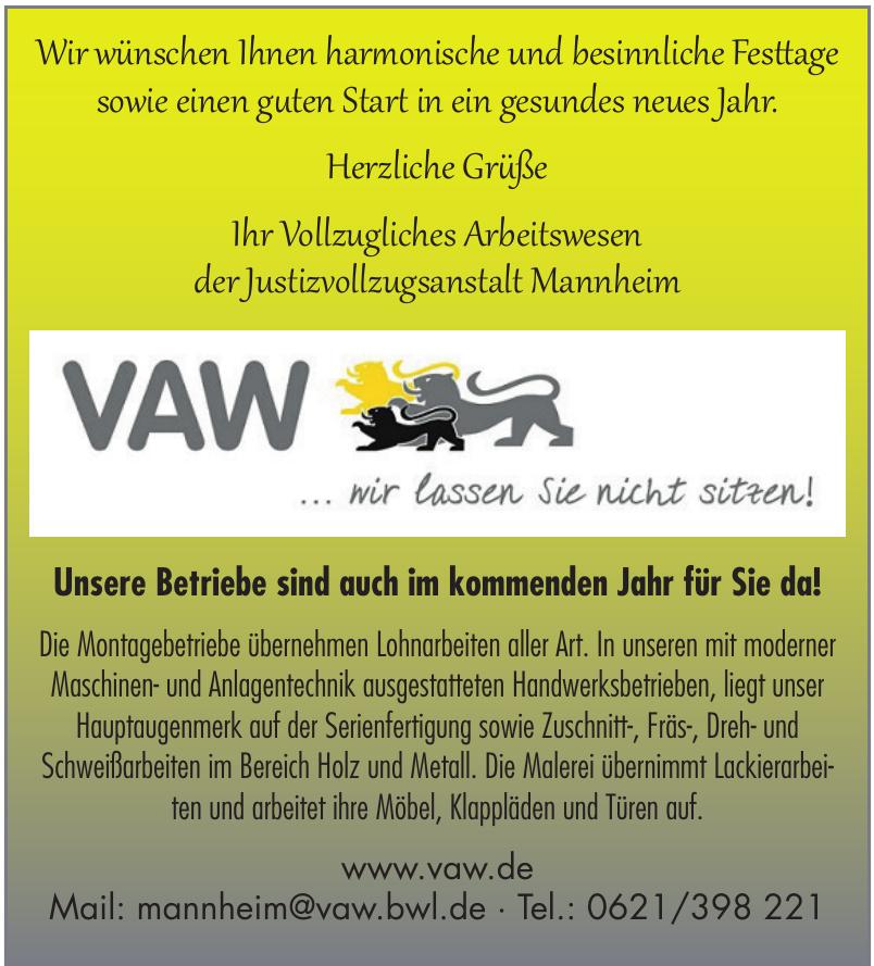 Vollzugliches Arbeitswesen der Justizvollzugsanstalt Mannheim