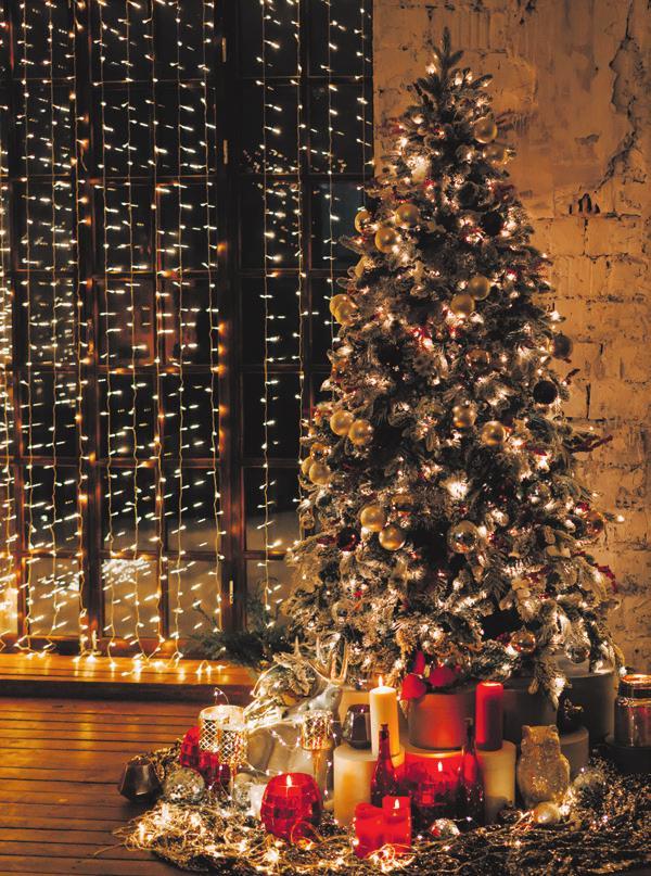 LED-Lichterketten am Weihnachtsbaum und Fenster sind besonders energieeffizient. FOTO: STOCK.ADOBE.COM / ALENA GAN