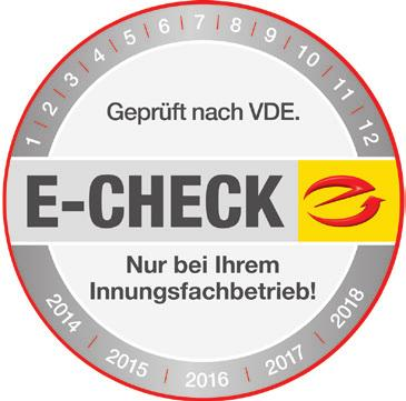 Mit dem E-Check-Siegel der Innungsbetriebe auf den Geräten ist man auf der sicheren Seite.