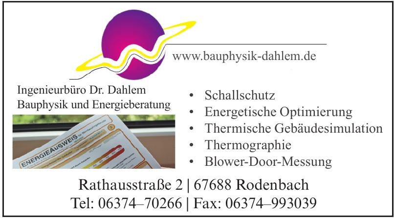 Ingenieurbüro Dr. Dahlem Bauphysik und Energieberatung