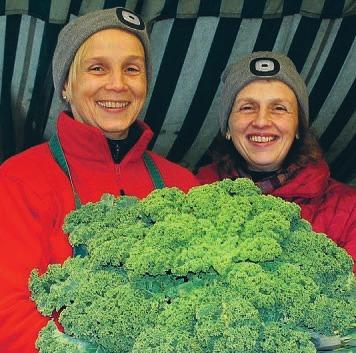 Grünkohl ist der Hit: Ina Eggers und ihre Schwester Heike Hense preisen Obst und Gemüse an