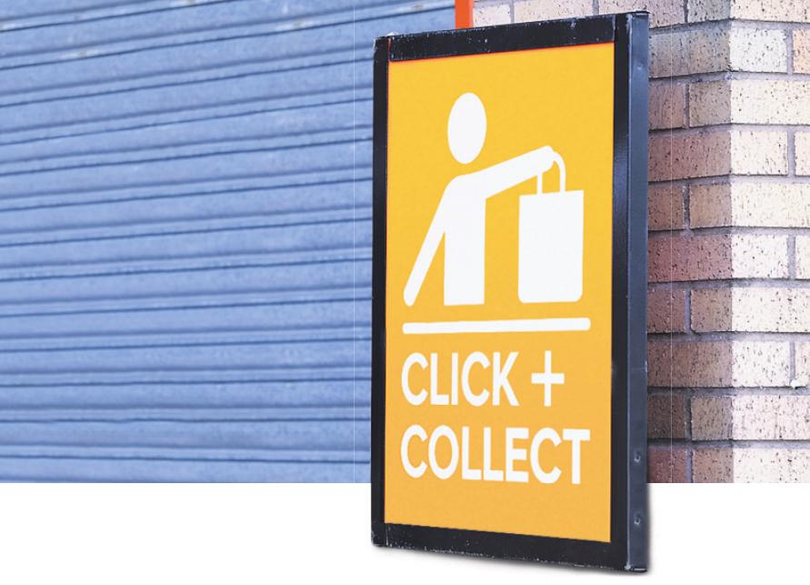 Viele Geschäfte machen mit Hinweisschildern auf den neuen Service aufmerksam Bild: Richard Johnson/stock.adobe.com