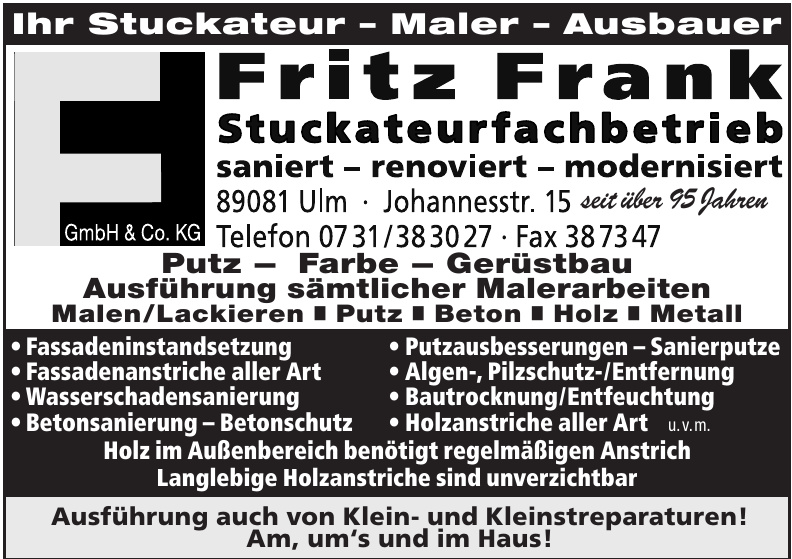 Stuckateurfachbetrieb Fritz Frank GmbH