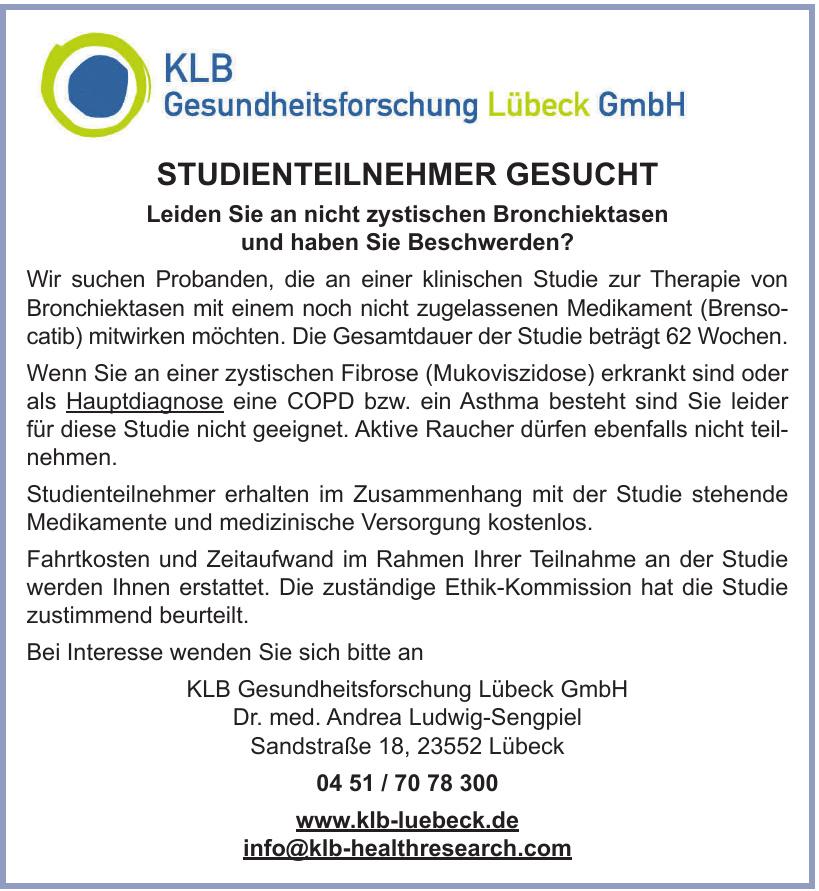 KLB Gesundheitsforschung Lübeck GmbH Dr. - Dr. med. Andrea Ludwig-Sengpiel